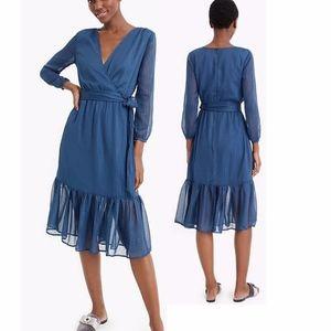 NWOT Point Sur J. CREW Faux Wrap Green/Blue Dress